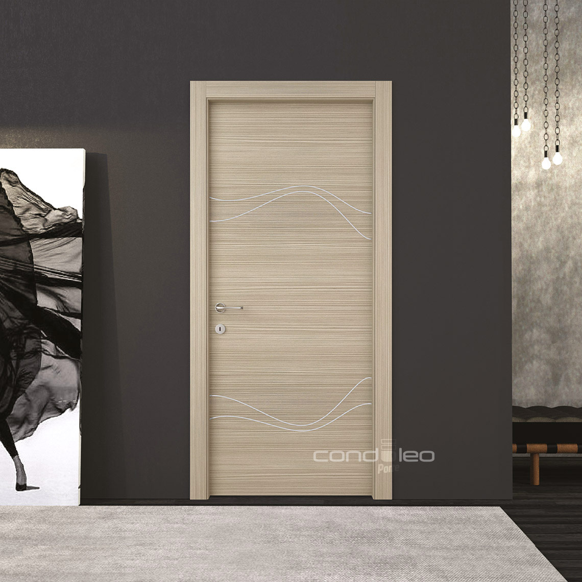 Porte Larice Sabbia Inserto Alluminio Satinato Mod. L019
