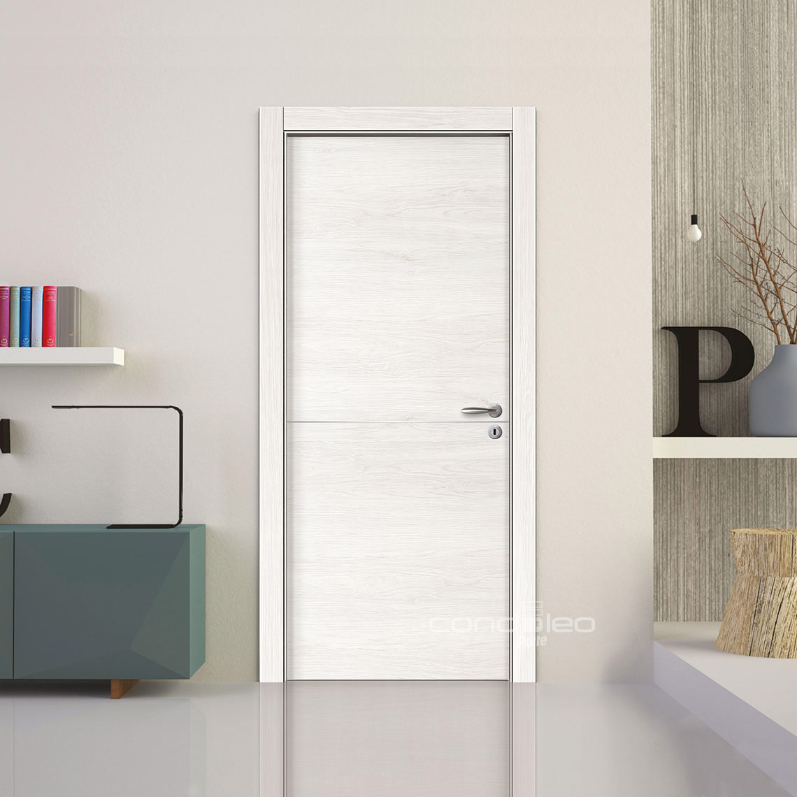 Porte Acero Bianco Inserto Alluminio Satinato L060