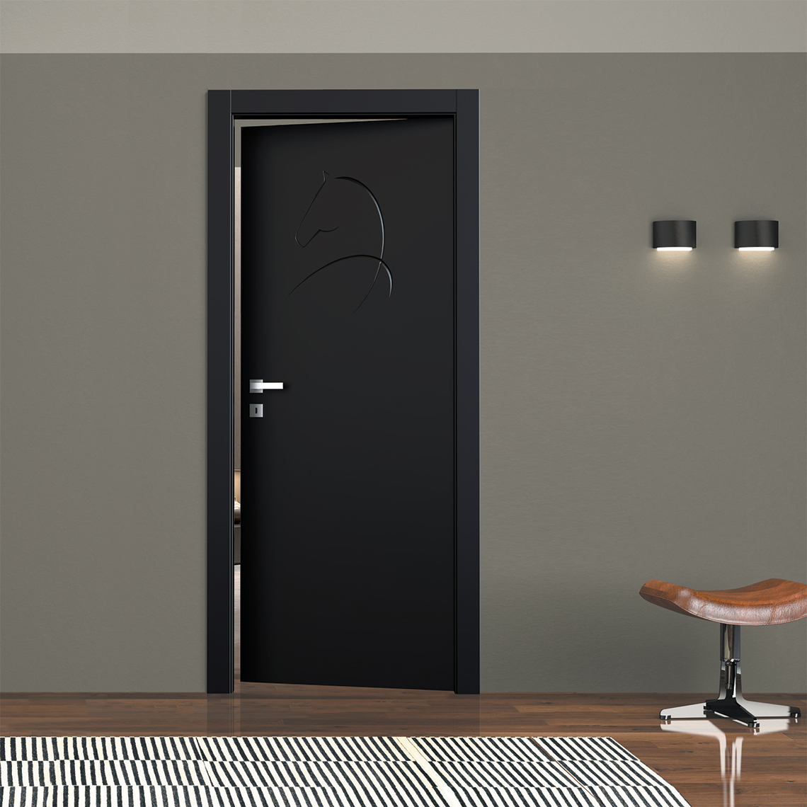 Decoro Fantasy 08 incisione 3D Porte interne laccate