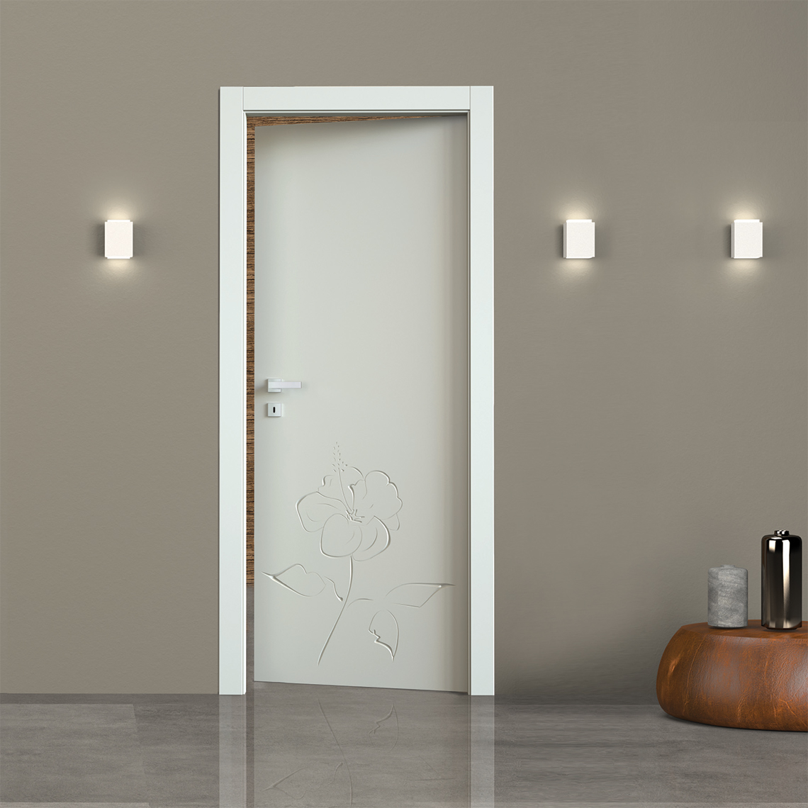Porte interne laccate incisione 3D decoro Fantasy 05